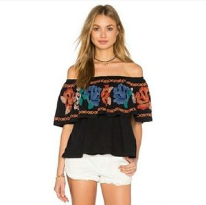 Free People Ruffle Embriodered Floral Flounce Top